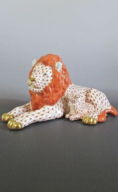 Herend Porcelain Rust Fishnet Kingdom Classic #Lion and #Lamb 15670 #Herend