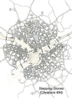 "Print - ""Stepping Stones (Cityspace 94)"" - Imaginary Cartography"