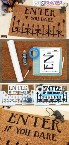 Create your own welcome perfect for Halloween with the help of this tutorial and some freezer paper! Our free stencil will help you set the scene this Halloween Halloween Stencils, Diy Halloween Decorations, Halloween Themes, Halloween Diy, Wholesale Halloween Costumes, Freezer Paper Stenciling, Tea Design, Coir Doormat
