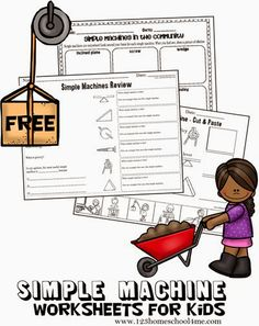 FREE Simple Machines Worksheets for Kids. These are great for learning and reviewing the 6 simple machines (part of a free 5 week science unit on simple machines for K-5th grade). LOVE THESE!