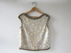 0cf2487f3513e 50s couture paillettes tank top • iridescent sequined sleeveless top