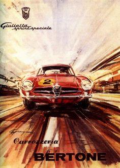 Poster Ad Alfa Romeo Giulietta SS by Bertone (Historia de la Ilustración)