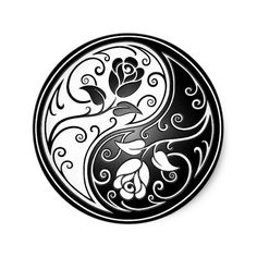Shop Yin Yang Roses, black Classic Round Sticker created by JeffBartels. Yin Yang Tattoos, Tribal Tattoos, Maori Tattoos, Guy Tattoos, Turtle Tattoos, Sleeve Tattoos, Mandala Tattoo Design, Tattoo Designs, Tattoo Ideas