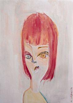 Margaret #contemporaryart #pop #modern #comic #art #painting #portrait #figurative #japan #pinkhair #catgirl