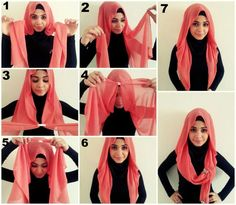 I have collected hijab styles step by step tutorial. It consists of steps required to wear beautiful hijab styles. These steps for hijab styles are easy. Hijab Chic, Stylish Hijab, Fashion Now, Party Fashion, Hijab Fashion, Fashion 2020, Turkish Hijab Style, Turkish Fashion, Tutorial Hijab Segitiga