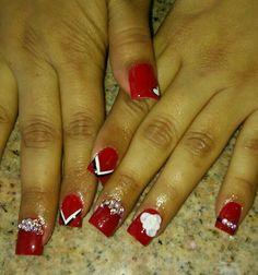 Nails nail designs red 3d roses bling