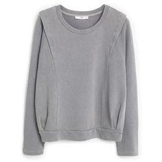 MANGO Cotton Sweatshirt (£33) ❤ liked on Polyvore featuring tops, hoodies, sweatshirts, sweat shirts, mango tops, cotton sweatshirt, sweat tops en cotton sweat shirts
