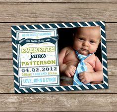 Birth Announcement : Everette Baby Boy Custom Photo Birth Announcement. $15.00, via Etsy.