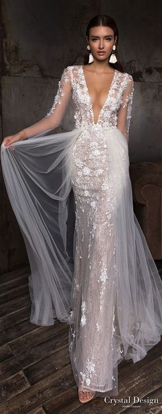 crystal design 2018 long sleeves deep plunging v neck full embellishment sexy romantic sheath wedding dress a line overskirt lace back sweep train (deli) mv -- Crystal Design 2018 Wedding Dresses