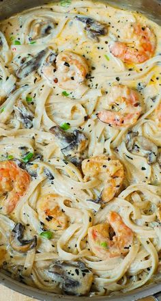 Creamy shrimp and mushroom pasta in a delicious homemade alfredo sauce. All the flavors you want: garlic, basil, crushed red pepper flakes, paprika, Parmesan and Mozzarella cheese. GF Pasta and something not mushrooms (yuck! I Love Food, Good Food, Yummy Food, Tasty, Halibut, Tilapia, Seafood Recipes, Cooking Recipes, Shrimp Pasta Recipes