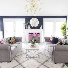 """""""We can live in a world that we design!"""" -The Greatest Showman . . . All sources are tagged and more details for this space are in the blog post! . . http://www.classyclutter.net/2017/12/living-room-makeover-2/ . . #mallorysparkhome"""