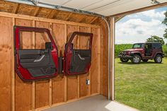 "Safely hang your Wrangler doors properly by their hinges for the best in door storage devices. Our method eliminates potential damage to the weather seals and paint finish as the weight is supported by the hinges. The painted sides face the wall and off the floor and away from potential harm. Made from 16 gauge steel with a durable powder coat finish. Lag bolts are provided to securely mount to wall studs that are 16"" on center. Works on full steel doors, soft doors and even tube doors ..."