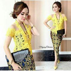 yellow Kebaya Lace, Kebaya Brokat, Batik Kebaya, Batik Dress, Kebaya Bali Modern, Model Kebaya, Batik Fashion, Traditional Dresses, Asian Woman
