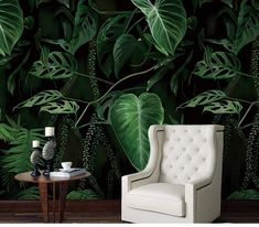 Oil Painting Emerald Green Tropical Plants with Leaves Wallpaper Wall Mural, Oil Painting Tropical P