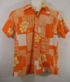 f91083f1 Vtg Hukilau Fashions Hawaiian Shirt Floral Orange White Bright Aloha Friday  #HukilauFashions #Hawaiian Aloha