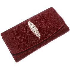 Portofel Plic din Piele de Pisica de Mare, Rosu Aprins Continental Wallet, Leather Wallet, Exotic, Crafts, Accessories, Women, Manualidades, Handmade Crafts, Craft