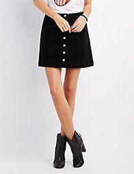 BLACKCorduroy Button-Up Skirt