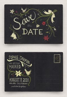 Might be interested in doing postcard invites, since we'll probably ask people to RSVP online. Love the dark postcard!
