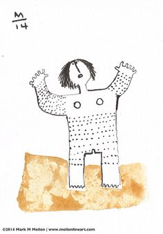 TRACTUS Woman with Markings  Original Sumi Ink by mellonfineart, $35.00