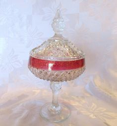 Vintage Ruby Band Diamond Point Candy Dish by VintageGlassEscape