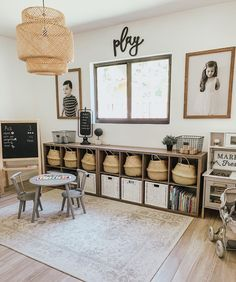 Farmhouse playroom decor - Our Home - Love the little space I designed for my kids 🖤 they love to be in here & learn and play! Playroom Design, Playroom Decor, Kid Playroom, Kids Playroom Storage, Modern Playroom, Cheap Playroom Ideas, Playroom Quotes, Office Playroom, Casa Loft