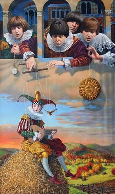 """""""Fool on the Hill"""" 2015 by Michael Cheval New York artist who creates enigmatic paintings in Surrealism. Called his style ' Absurdity'."""