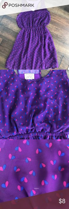 Purple and Blue Heart Dress Dress with racerback. Has small white lines through dress as shown in pictures. Dresses
