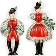 Trifari Alfred Philippe Peter & Helen in Red Swiss Costumes Pair of Pin Clips