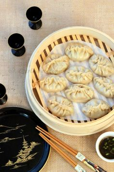 vegetarian steamed wontons with chili garlic soy sauce