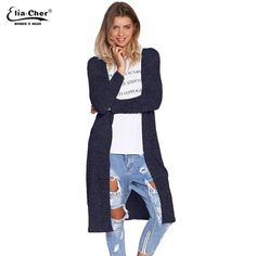 Open Stitch Women Cardigan Slim Winter Long Knitted Cardigans Tops Casual Poncho Sweater