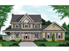 Cottage House Plan with 2457 Square Feet and 4 Bedrooms(s) from Dream Home Source | House Plan Code DHSW55212 House Plans 2 Story, Story House, Country House Plans, Cottage Floor Plans, Dream House Plans, Farmhouse Plans, Country Farmhouse, Farmhouse Front, Farmhouse Design