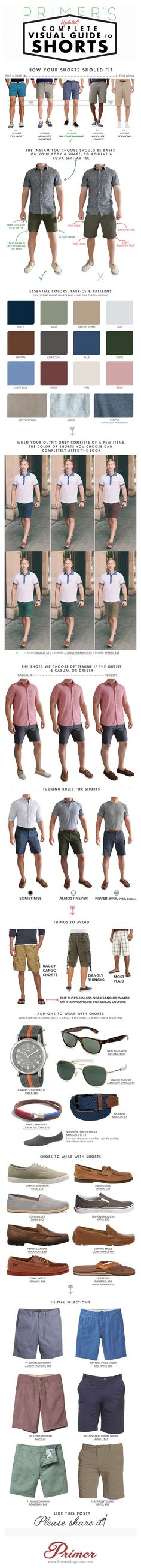 What to Wear with Shorts For Men - Fashion Infographic. Topic: Men's wear, khaki, front flat, chino, carfo short, men style.