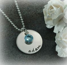Jewelry, personalized hand stamped necklace with birthstone, $32, by divinestampings