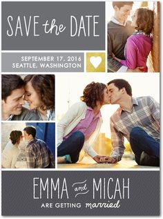 Modern Matrimony - Signature White Photo Save the Date Cards - Robyn Miller - Flint - Gray : Front
