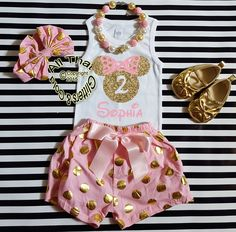 b99b8bed8c6 Personalized Pink and Gold Minnie Birthday Shorts Outfits For Toddlers -  Age 1 - 7Looking for