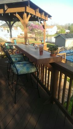 Deck railing bar I used por ilin tilesfor the top. They are just sittng inside