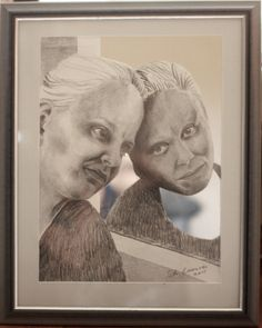 """Art collage by Satu Laaninen """"Sufficiently Good"""" pencils and a mirror."""