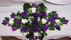 wedding flowers top table decoration cadbury purple & ivory roses gyp | eBay