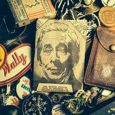 Junk drawer.  #rustbeltamericana #rust #belt #americana #vintage #junkyard #jewelry #antique #compass #patch #history #cinema #1930 #newspaper #america #usa #dust