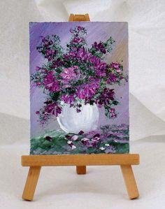 Purple Flowers original oil painting 3x4 gift by valdasfineart