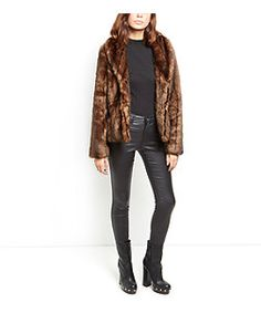 Dark Brown Faux Fur Shawl Collar Coat  | New Look