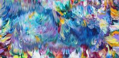 Colorful acrylics blend together in this vivid abstract painting by Alexandra Romano  https://alexandraromanoart.com/products/free-spirit-no-2-original-colorful-abstract-painting