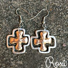 Silver & Gold Cross Earrings | Roxi Collection