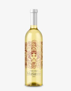 Beautiful wine bottle / label design for Marianne Wines :: Medusa flowers