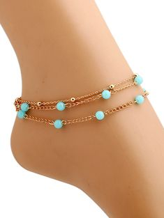 Bead Layered Anklet - GOLDEN