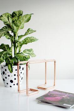 DIY Copper Pipe Magazine Rack
