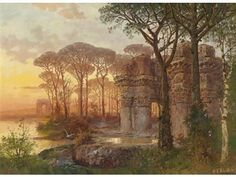Ferdinand Knab ~ Landscape with ruins