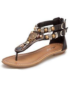 Ladylike  Beading Pu Flat-sandal Flat Sandals from fashionmia.com