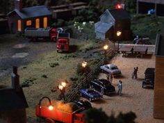 Model Railway with Cars Night