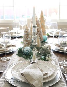 stylish Pretty Winter Table Setting Design Ideas That Looks So Awesome Christmas Table Settings, Christmas Tablescapes, Holiday Tables, Christmas Decorations, Table Decorations, Christmas Ideas, Aqua Christmas, Coastal Christmas, Christmas Crafts